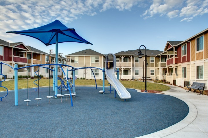 The Grove play structure and park area